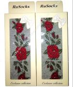 """RuSocks Колготки в коробке для девочек """"стразы, розы"""" светло-серый меланж Арт.ДК-3136"""