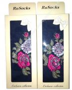 """RuSocks Колготки в коробке для девочек """"стразы, розы"""" темный джинс меланж Арт.ДК-3136"""
