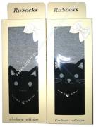 """RuSocks Колготки в коробке для девочек """"кошка с ошейником, стразы"""" черный/серый Арт.ДК-3137"""