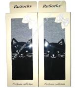 """RuSocks Колготки в коробке для девочек """"стразы, кошка"""" черный/серый Арт.ДК-3137"""